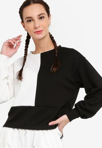 ZALORA ACTIVE black and white Colorblock Sweatshirt F033CAA2C7CB10GS_1