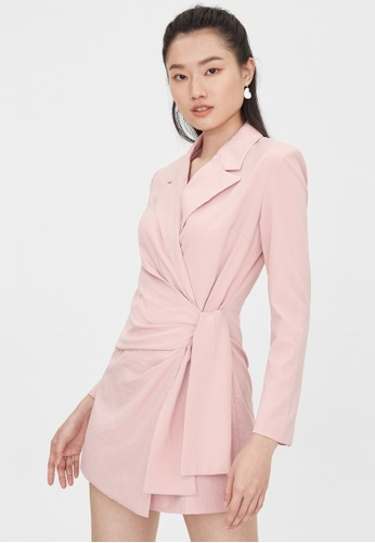 Pomelo pink Ruched Side Wrap Romper - Pink 7D75BAAC027F3CGS_1