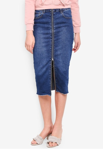 LOST INK blue Zip Through Denim Pencil Skirt 07DE6AAD58EAEDGS_1