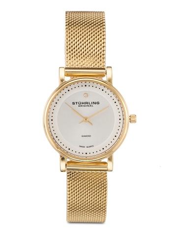 Stuhrling Original gold Stainless Steel Gold Tone Mesh Bracelet Watch ST251AC0RFJRMY_1
