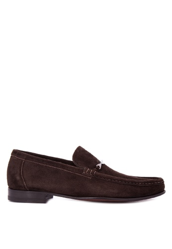 A. Testoni grey Men's Casual Dress Shoes Classic Loafers Slip On AT299SH0K4BXPH_1