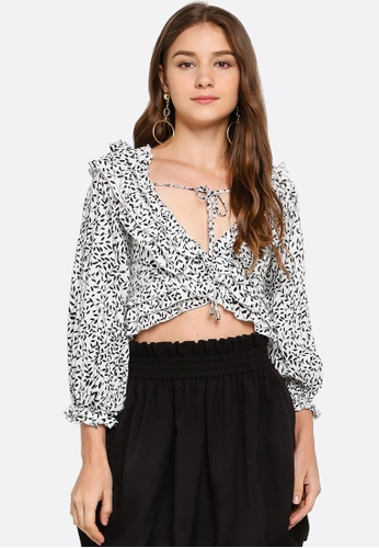 INDIKAH white Cold Shoulder Poet Sleeve Crop Top 3A380AAB4D52CAGS_1