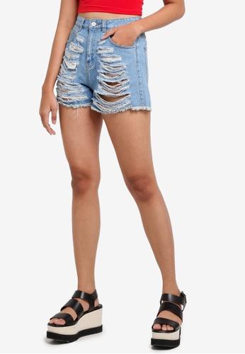 MISSGUIDED blue Highwaisted Shredded Denim Shorts 1CEE0AA4BB1946GS_1