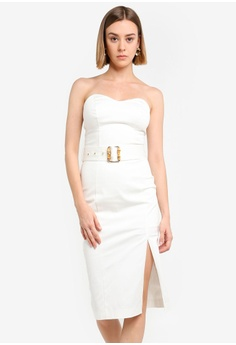 51dd754a7c618 River Island white White Belted Bodycon Midi Dress 43C08AAB0D0C81GS_1