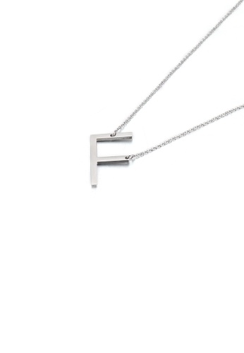 Glamorousky silver Simple and Fashion English Alphabet F 316L Stainless Steel Pendant with Necklace 4C09DACBA7B39DGS_1