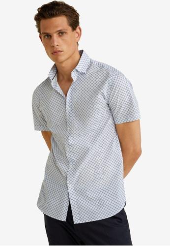 MANGO Man 白色 Regular Fit Printed Cotton Shirt 2A004AAD75BC10GS_1