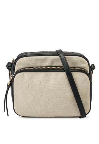 Coccinelle black and beige Lea Canvas Sling Bag 99CADACAAA509FGS_1