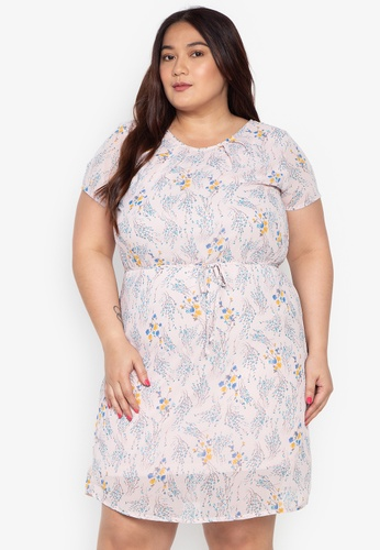 98269140b926c Shop Divina Plus Size Printed Tie Waist Dress Online on ZALORA ...