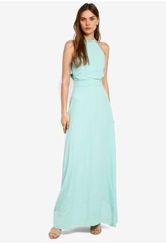74b3f2b2e75 WAREHOUSE green Tie Back Maxi Dress 0560AAA19CDB8BGS 1