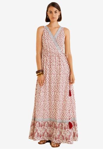 Mango white and multi Print Wrap Dress 8BF85AA542F8A2GS_1