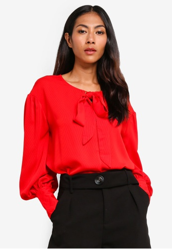 BYSI red Ribbon Tie Puff Blouse 9C329AA1AF1623GS_1