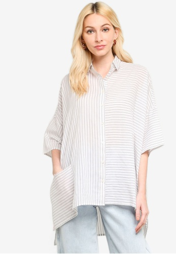 French Connection white Aashi Oversized Shirt 8BDCBAAB2954EEGS_1