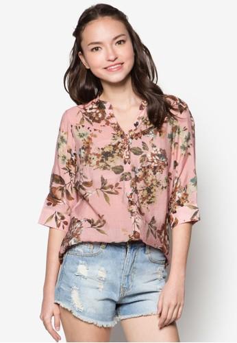 花卉圖案七分袖襯衫,zalora 包包評價 服飾, 服飾