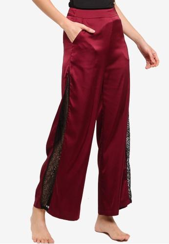 ZALORA BASICS red Lounge Lace Panel Satin Pants 099D2AA675B6B0GS_1