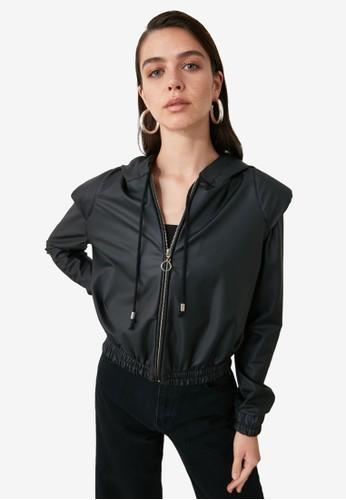 Trendyol black Padded Detail Faux Leather Hoodie D835DAA2C073FAGS_1