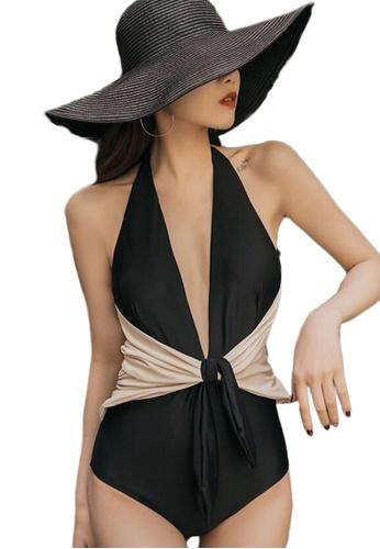 Sunnydaysweety black Sexy Deep V High Waist Stitching One-Piece Swimsuit A21071412BK BBA87US43684A7GS_1