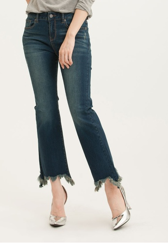 H:CONNECT blue Frayed Hem Boot-Cut Jeans 2D91BAA94AE9FAGS_1