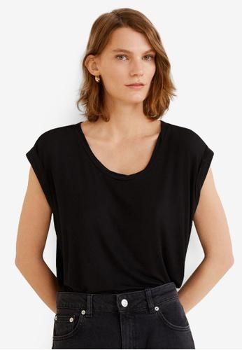 Mango 黑色 Rolled-Up Sleeves T-Shirt EE5D7AADF967ADGS_1