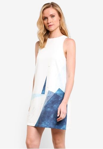 ZALORA white Angular Printed Shift Dress B8A6EAA08ECA28GS_1