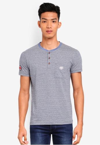 ESPRIT 海軍藍色 短袖條紋口袋T恤 90611AA4A74F16GS_1