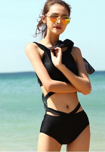 Sunnydaysweety black Sexy Gathered High Waist Split Swimsuit A21071411BK 41C87US09F02EFGS_1