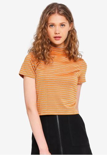 Factorie orange Short Sleeve High Neck Top 53F9AAAD1081D3GS_1