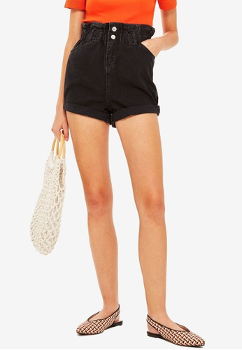 TOPSHOP black Paper Bag Denim Shorts 6D26CAA0946453GS_1