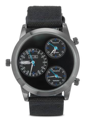 三時區帆布esprit outlet 高雄帶男士裱, 錶類, 其它錶帶
