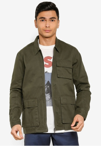Only & Sons green Eddie Long Sleeve Pocket Jacket D2FEAAADF01125GS_1