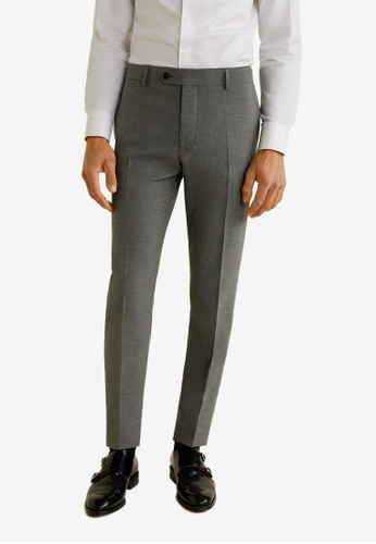 MANGO Man 灰色 Slim Fit Microstructure Suit Trousers 28561AAD789AEBGS_1