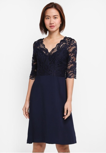 Wallis navy Navy Lace Fit And Flare Dress F5832AA536B031GS_1