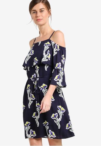 WAREHOUSE navy Iris Cold Shoulder Dress WA653AA65ULIMY_1