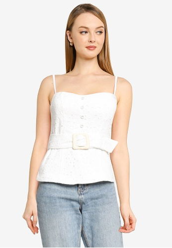 Forever New white Mimi Embroidered Linen Bustier Top 3BD5DAA8202A33GS_1