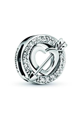 PANDORA silver Pandora Asymmetrical Heart & Arrow Clip Charm 4DAECACD92E330GS_1