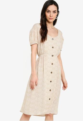 ZALORA WORK multi and beige Sweetheart Puff Sleeve Midi Dress 7F810AA8AD311EGS_1