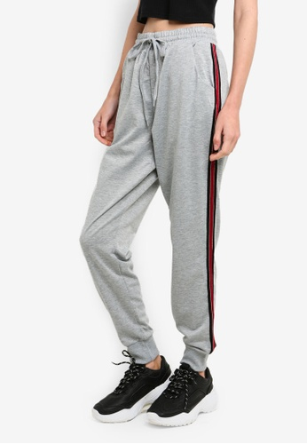 Brave Soul grey Jogging Bottom With Tape Down The Leg 7BD5FAA405A2F0GS_1