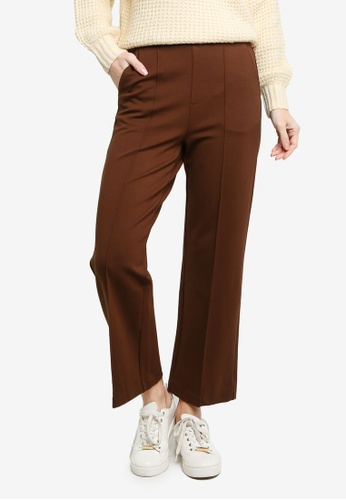 GLOBAL WORK brown Flat Front Trousers DAE85AA92CF17CGS_1