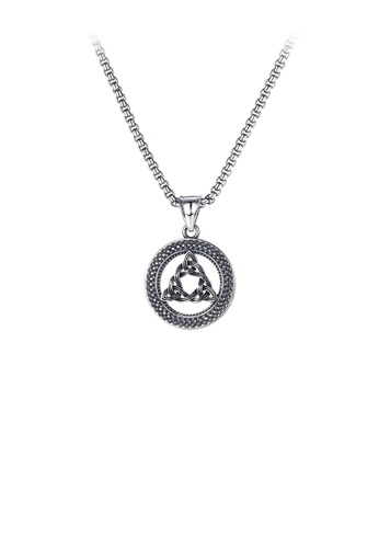 Glamorousky silver Simple Personality Geometric Triangle Round 316L Stainless Steel Pendant with Necklace 16A9FAC697EC17GS_1