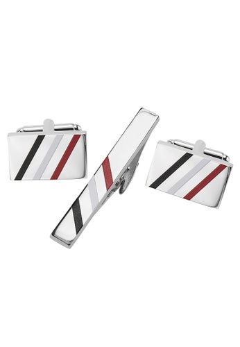 CUFF IT multi Black, White and Red Diagonal Stripes Cufflinks and Tie Clip Set CU047AC2UYIWHK_1