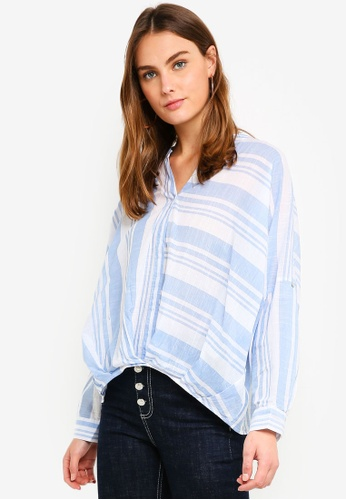 ESPRIT blue Woven Long Sleeve Blouse 85605AA03CE902GS_1