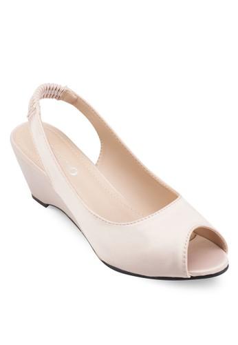 露趾繞踝楔型鞋, 女鞋, 楔形涼esprit服飾鞋