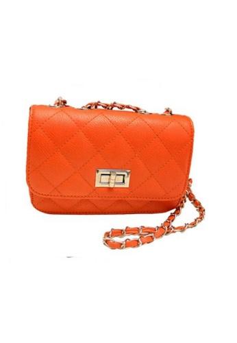 A FRENZ Quilted Convertible Chain Strap Crossbody Handbag (M) (TANGERINE) 2757FAC5FAF876GS_1