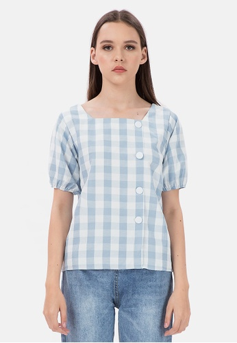MKY Clothing blue MKY White Side Button Plaid Blouse 1371BAA7D95B8AGS_1