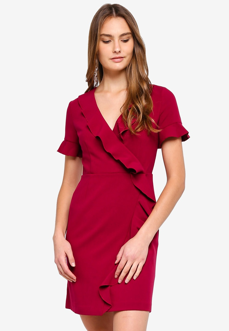 V Dress Alianor Stretch French Neck Baked Frill Connection Cherry 6CCzqw