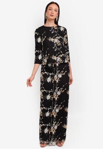 Alia B. black Grace Full Lace Kedah Top With Matching Skirt AL946AA0STDEMY_1