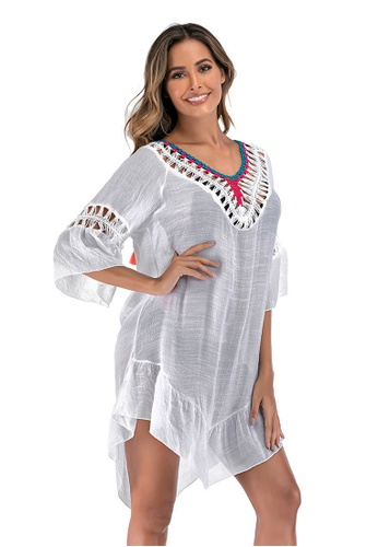 LYCKA white LTH4168-European Style Beach Casual Outer Dress-White A0324USD91BF21GS_1