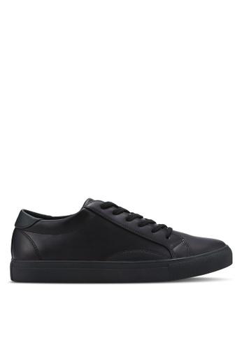 ZALORA black Essential Faux Leather Sneakers 8815CSH9EDF946GS_1