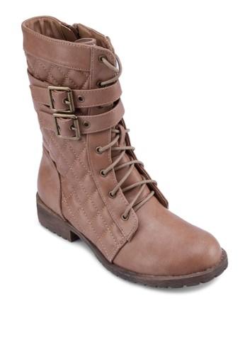 菱格繫帶中筒靴, 女鞋,esprit outlet 香港 鞋