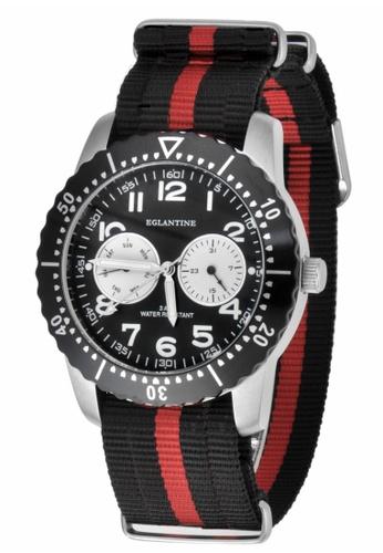 EGLANTINE silver EGLANTINE® Terrenz Unisex Steel Quartz Watch Black Dial on Black/Red NATO Strap 03A7FAC28651E5GS_1