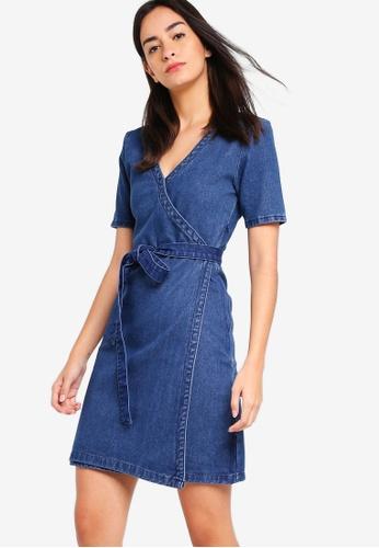 ZALORA blue V-Neck Wrap Dress E5DABAA2523D67GS_1